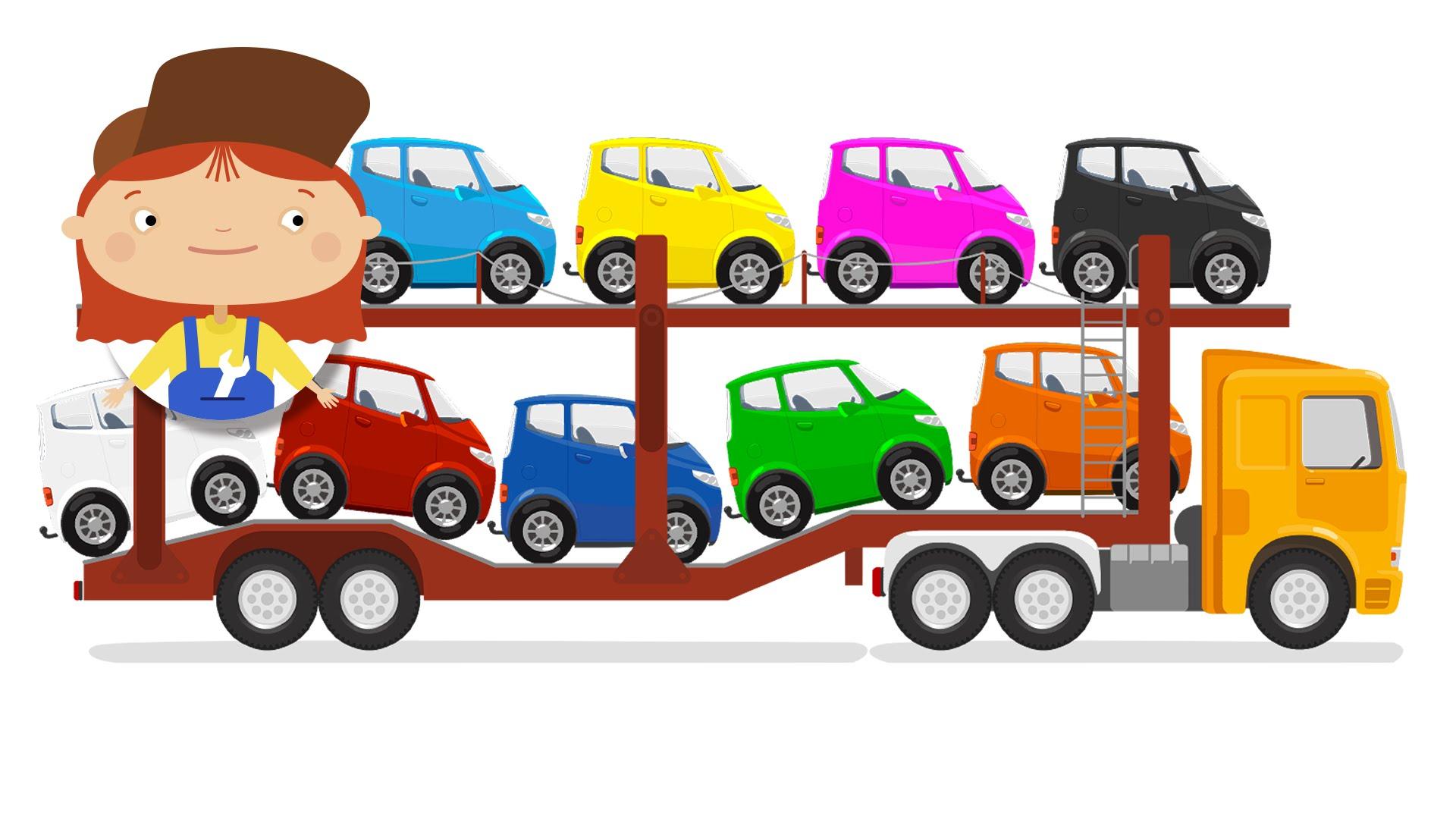 Cars clipart transporter. Kids cartoon car and