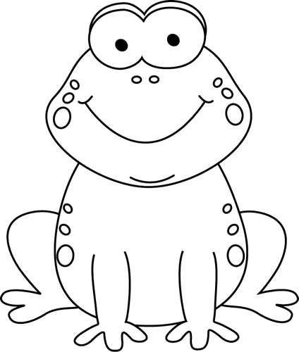 Clipart frog sketch. Black and white cartoon