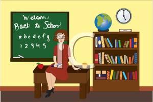 A colorful of teacher. Cartoon clipart classroom