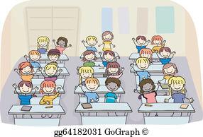 Cartoon clipart classroom. Vector art drawing gg