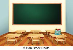 Cartoon clipart classroom. Illustration of an empty