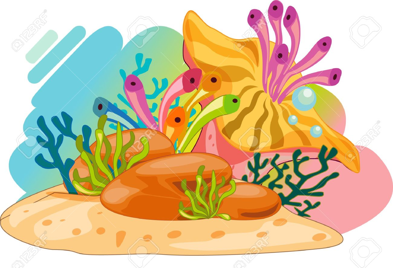 Reef station . Cartoon clipart coral