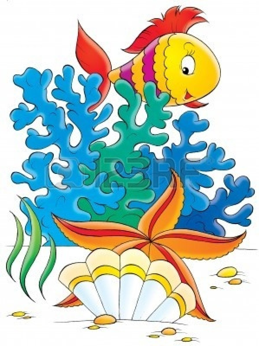 Free reef fish . Cartoon clipart coral