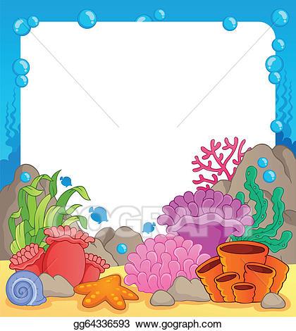 Eps vector reef theme. Cartoon clipart coral