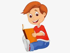 Children reading preschool books. Cartoon clipart education