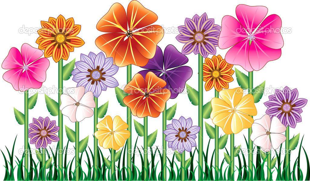 Cartoon flowers clip art. Gardener clipart flower bed