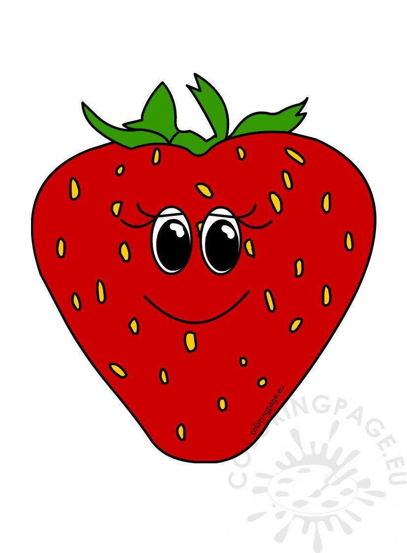 Happy strawberry fruit cartoon. Strawberries clipart comic