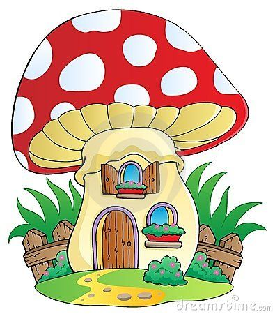 Mushrooms mushroom royalty free. Cartoon clipart house