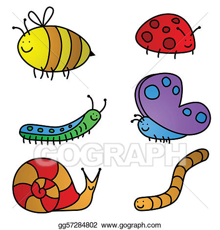 Cartoon clipart insect. Vector art cartoons drawing