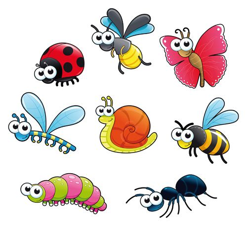 Different vector material pre. Cartoon clipart insect