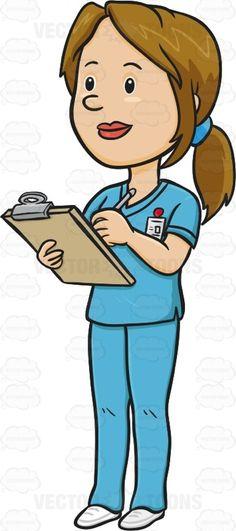 A black haired lady. Cartoon clipart nurse