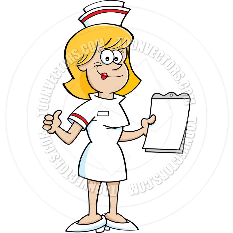 Cartoon clipart nurse. With clipboard