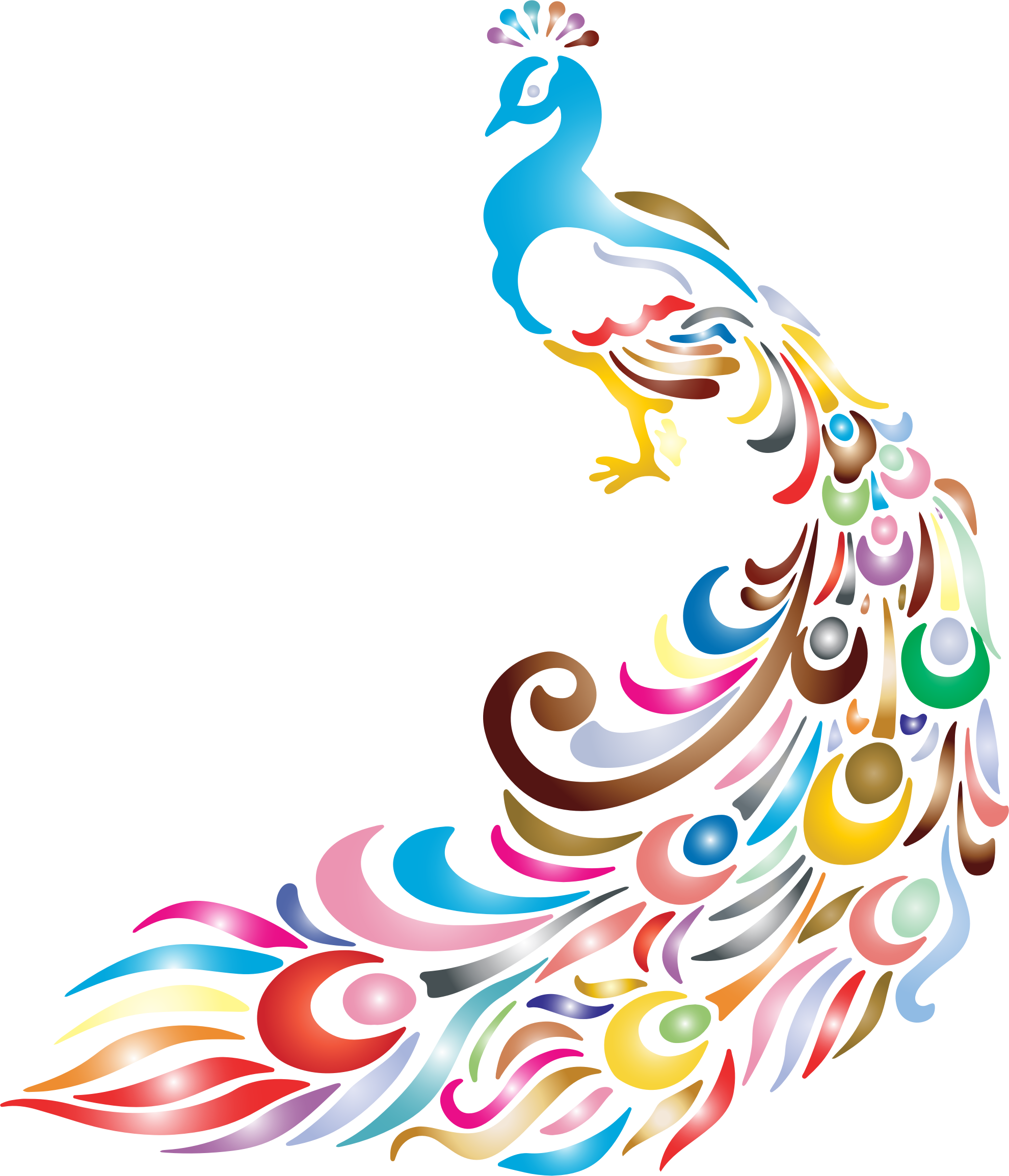 Cartoon peacock vector clip. Painting clipart simple