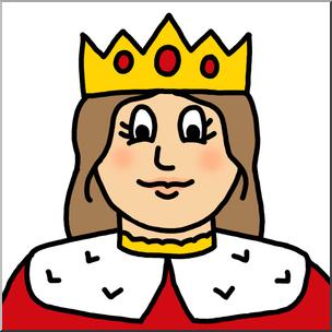 Queen clipart cartoon. Clip art faces color