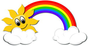 Image drawing of a. Cartoon clipart rainbow