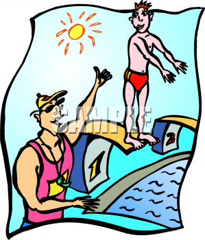 Picture of a swimming. Cartoon clipart student