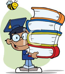 Cartoon clipart student. A colorful of holding