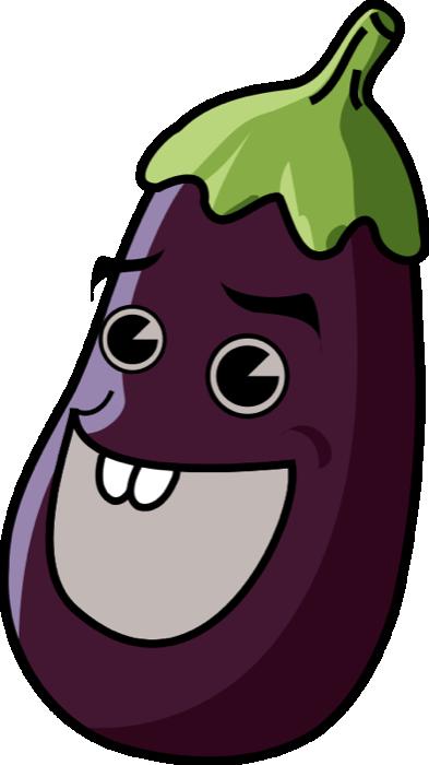 Eggplant aubergine. Cartoon clipart vegetable