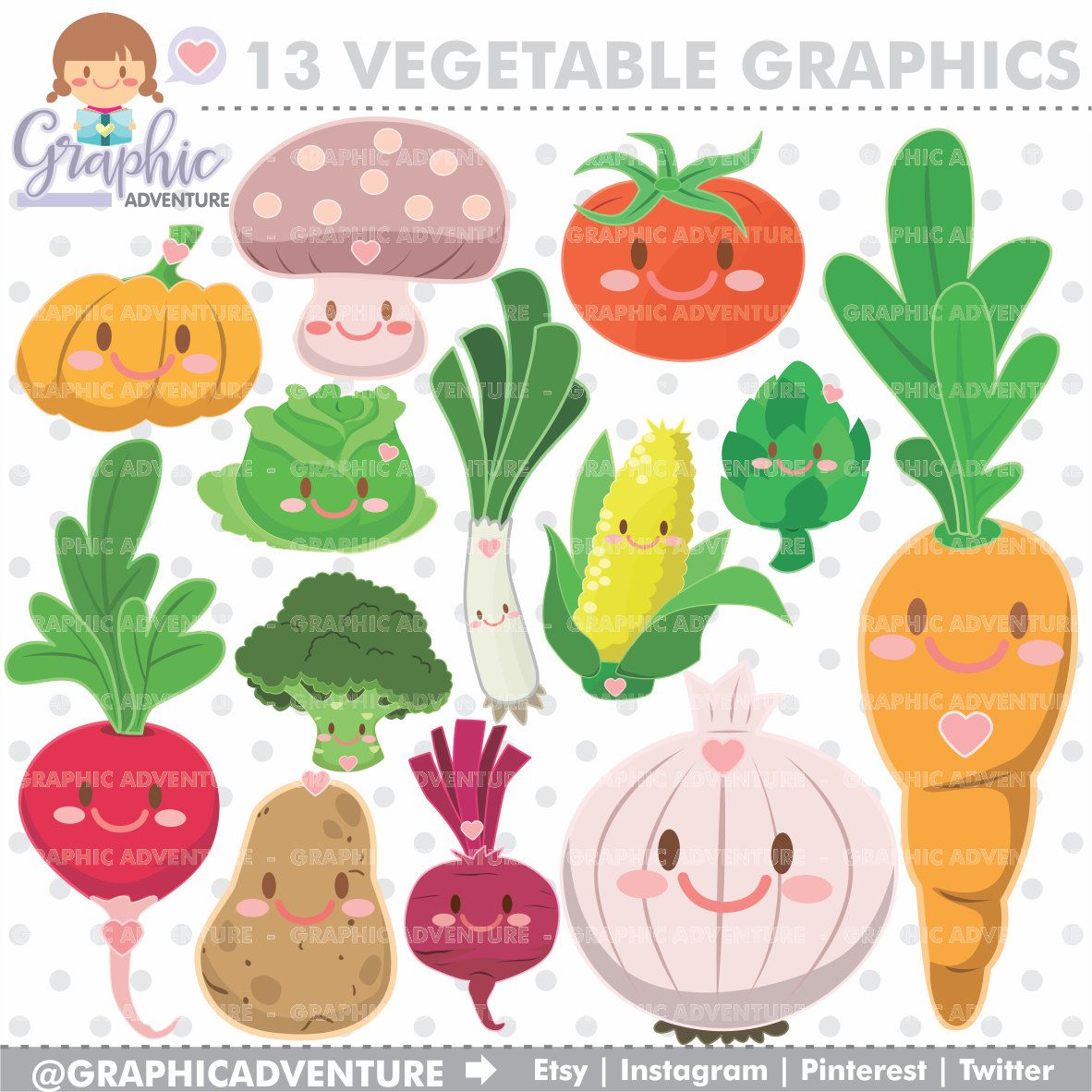 Cartoon clipart vegetable. Graphics commercial use kawaii