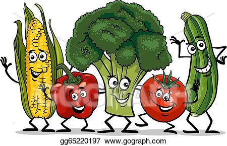 Eps illustration comic vegetables. Cartoon clipart vegetable