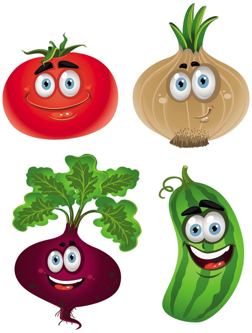 Drawings of vegetables fruit. Cartoon clipart vegetable