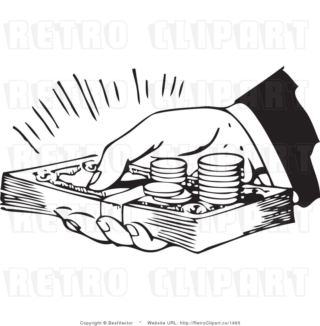 collection of money. Cash clipart black and white