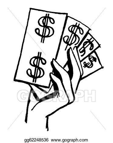 Cash clipart black and white. Stock illustration a version