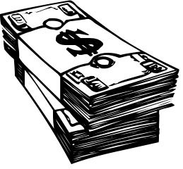 Cash clipart black and white. Kind of letters inside