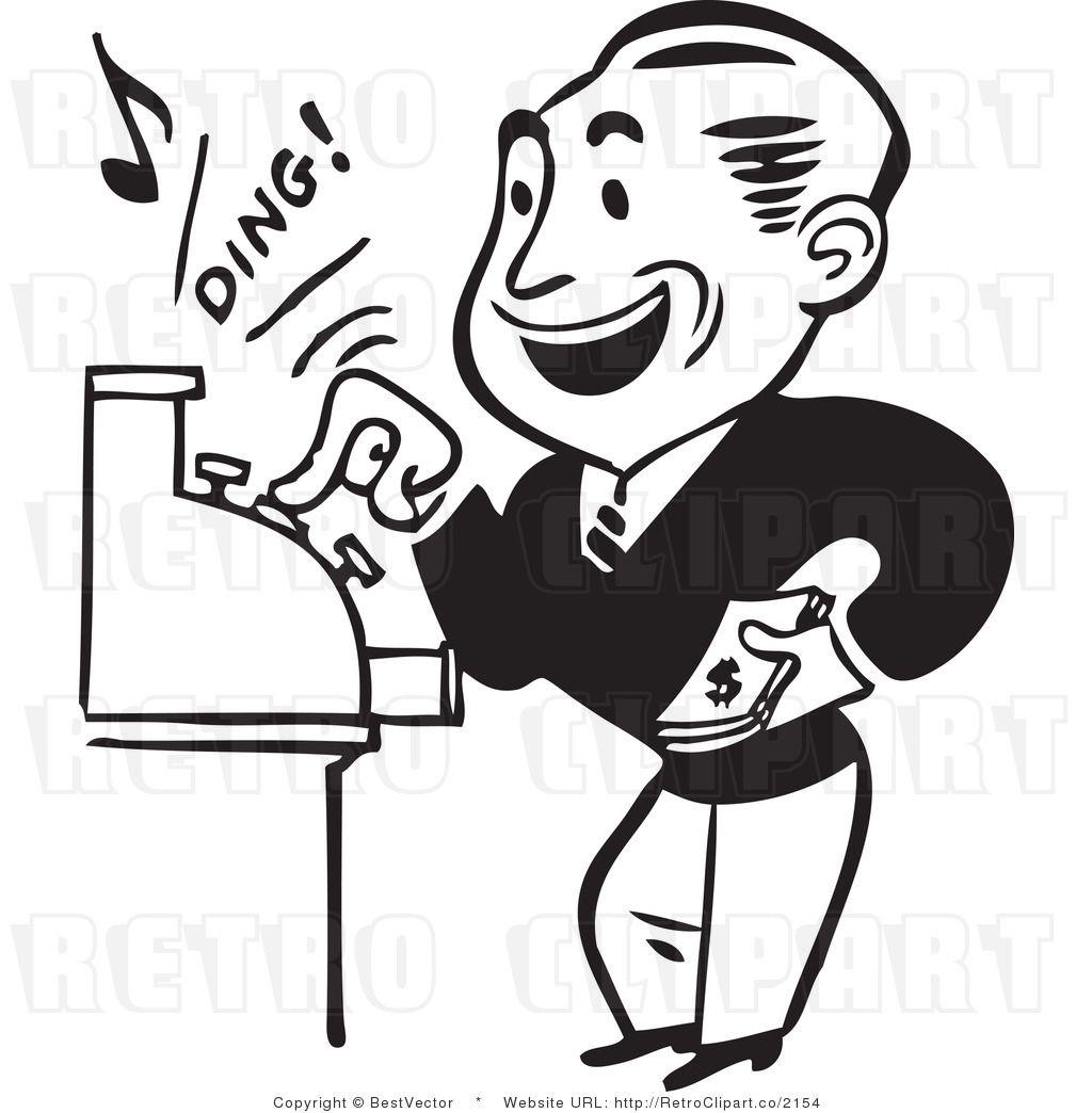 Cash clipart cash register. Retro man operating a