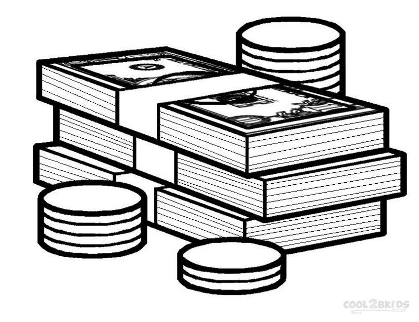 Stack of money drawing. Cash clipart line