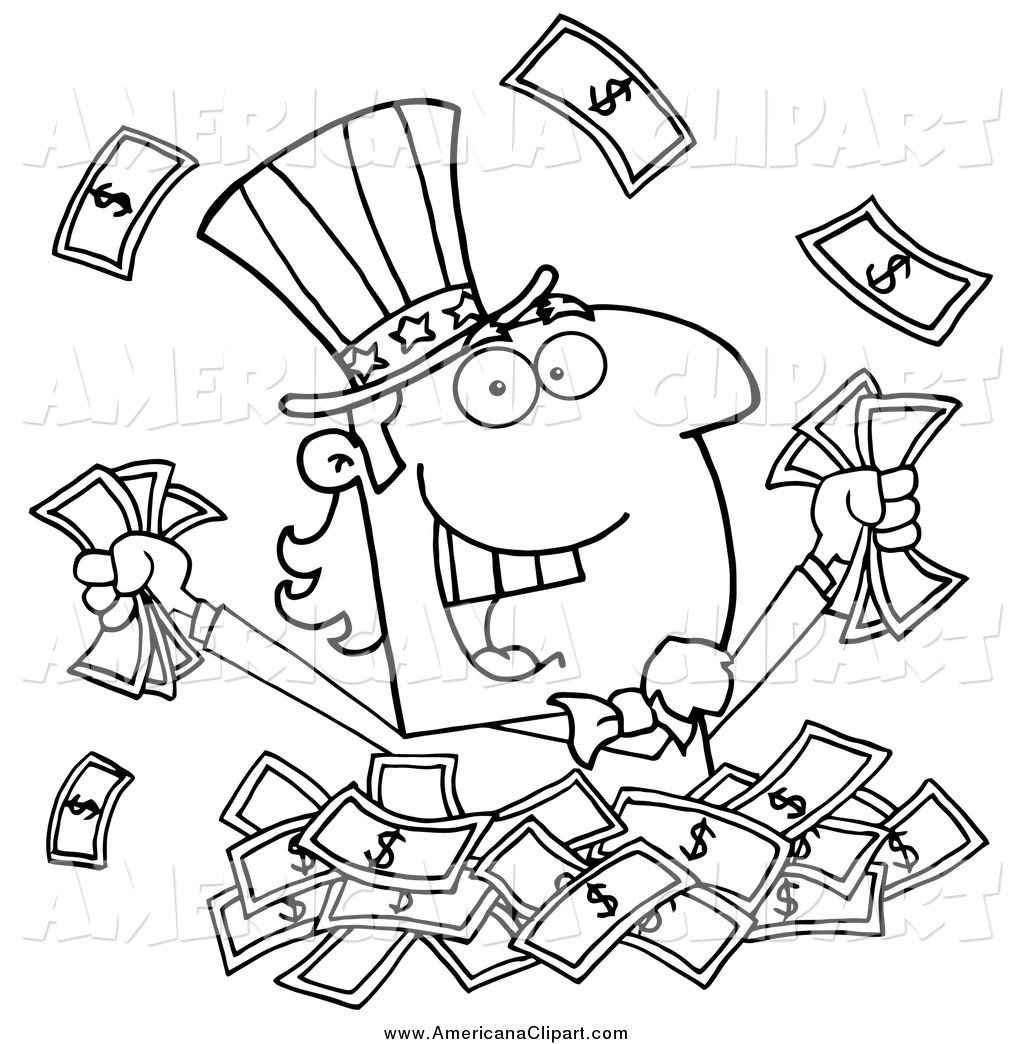 Cash clipart line. Stack of money drawing