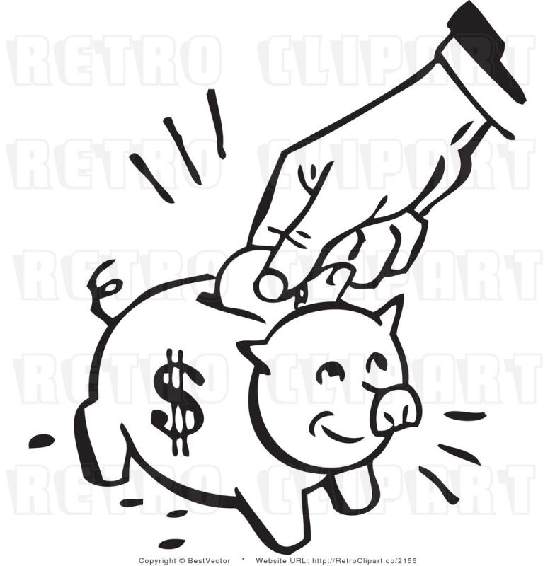 Cash clipart line. Save money drawing at