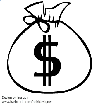 Bag of money free. Cash clipart line