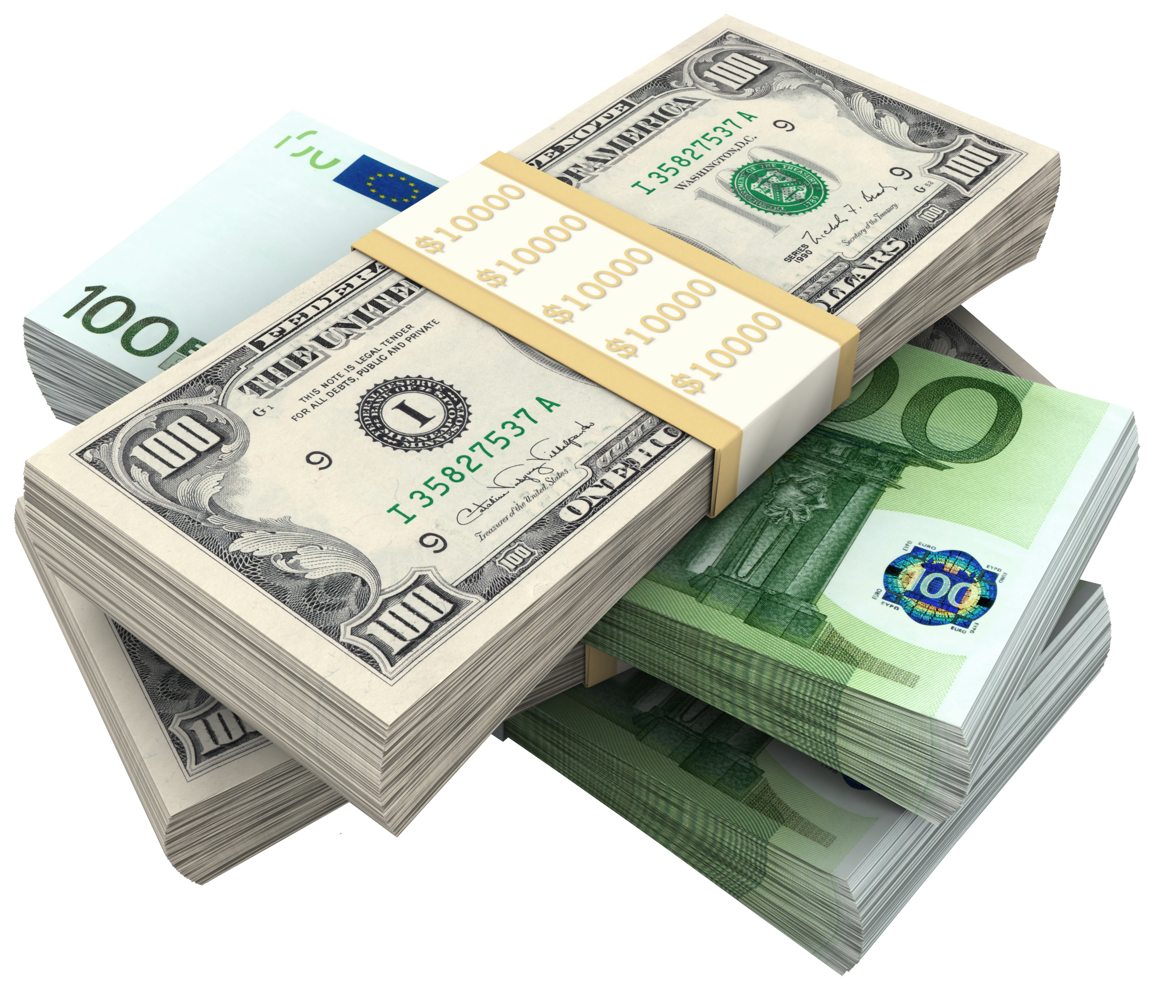 Bundles of dollars and. Money background png