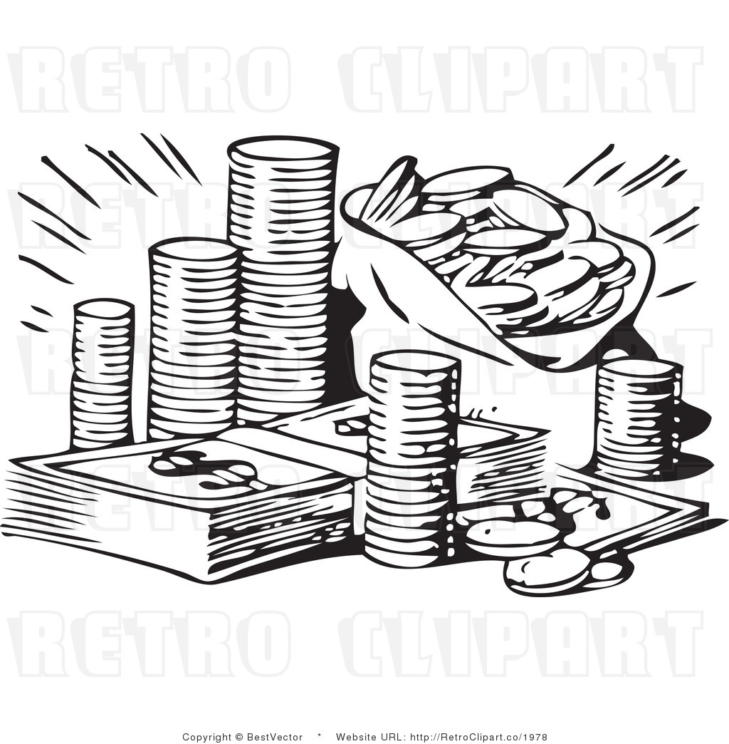 collection of money. Cash clipart outline