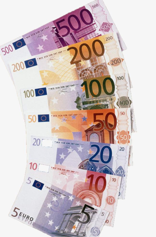 Different denominations of euro. Cash clipart paper money