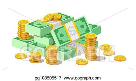 Vector illustration big of. Cash clipart pile money
