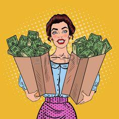 Cash clipart pop art. Vector girl with in