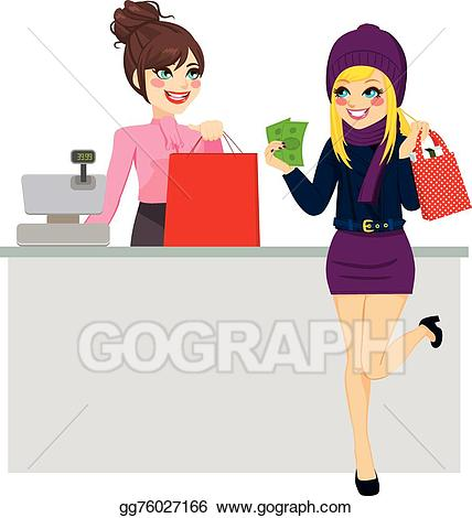 Clip art vector woman. Cashier clipart paid