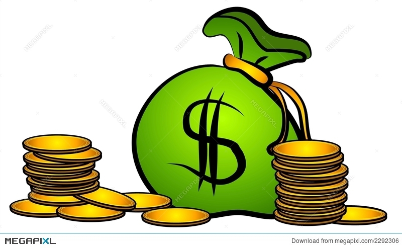Bag of money coins. Cash clipart sack