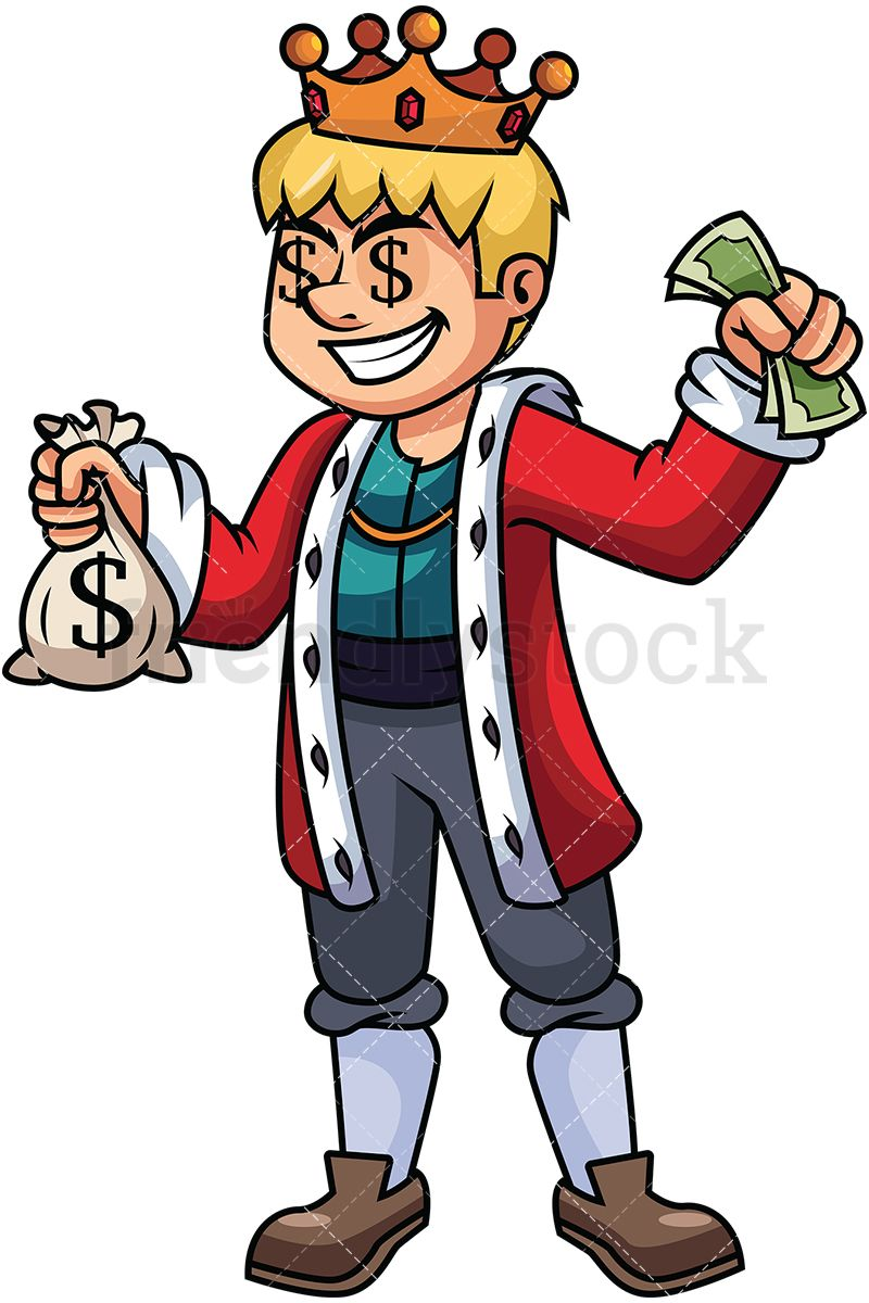 Rich king holding money. Cash clipart vector