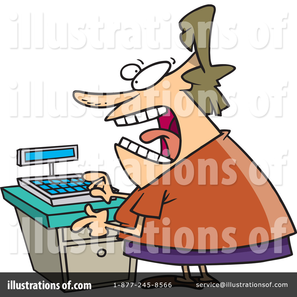 Illustration by toonaday royaltyfree. Cashier clipart