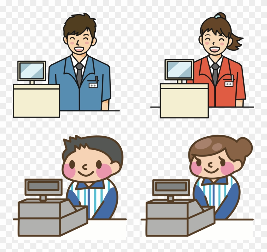 Cashier clipart. Supermarket japan grocery store