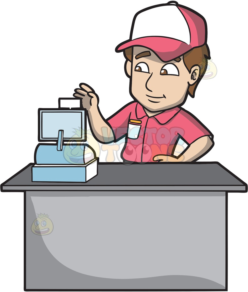 Register group a fast. Cashier clipart animated