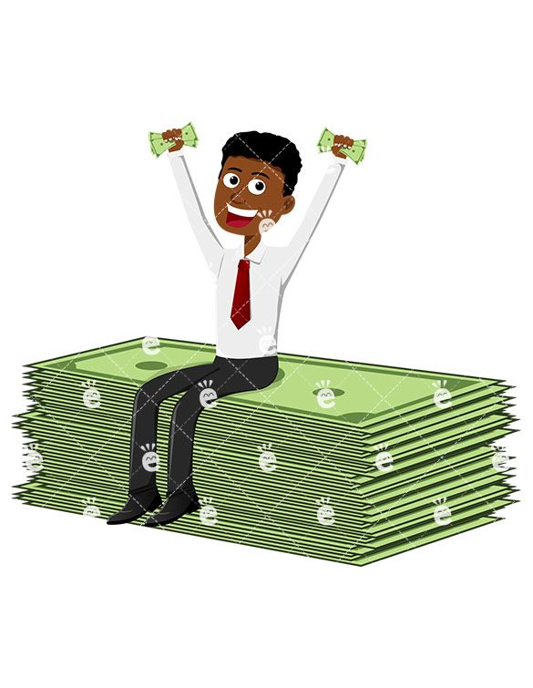 A black man sitting. Cashier clipart animated
