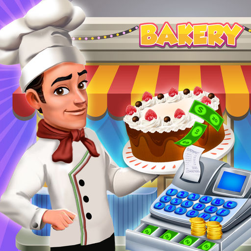 Sweet cake shop by. Cashier clipart bakery