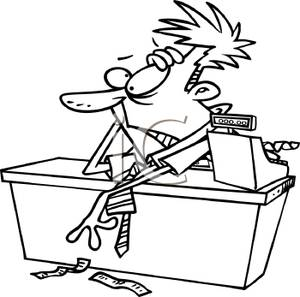 Cashier clipart black and white. A cartoon of stressed