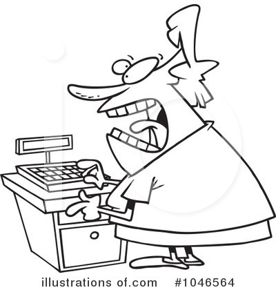 Cashier clipart black and white. Illustration by toonaday royaltyfree