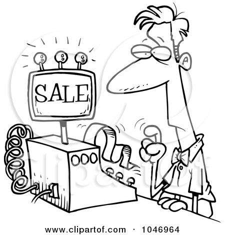Sale . Cashier clipart black and white