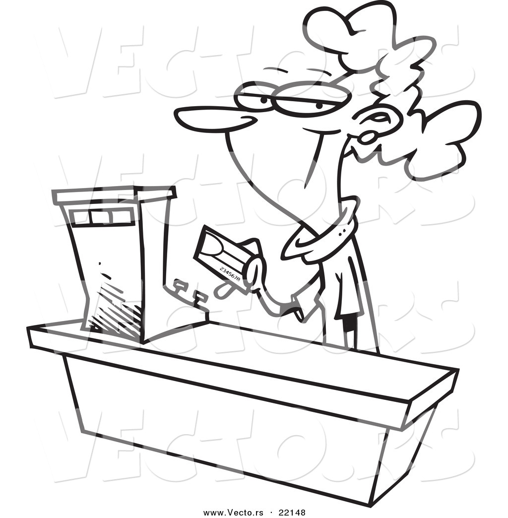 Cashier clipart black and white.  collection of shop